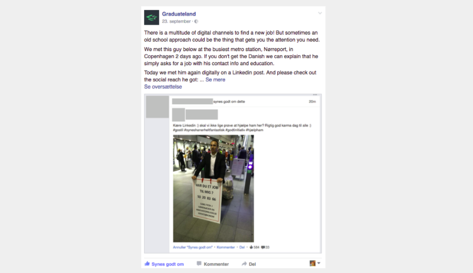 Our Facebook Post about Emanuel at Nørreport station